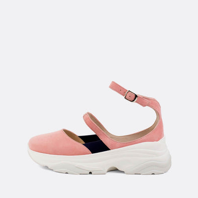 Baby pink suede sneaker sandals with elastic and buckle to adjust size.