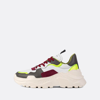 Multicolored leather runners with a dramatic platform white sole.