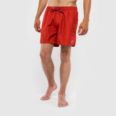 Red regular fit swim shorts with a contrast stripe along side seam.