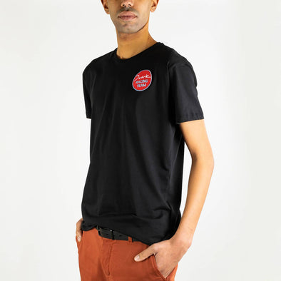 "Simple black t-shirt with ""Duarte Racing Team"" round print on the chest."
