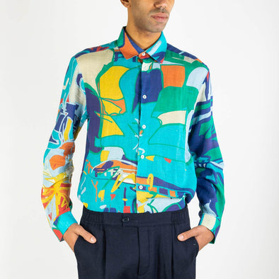 Multicolored shirt in a vivid unique pattern.