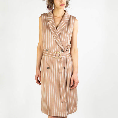 Dusty pink and white sleeveless striped jacket dress with self belt.