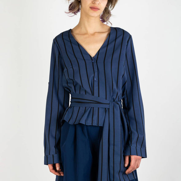 Striped blouse with dip hem and waist tie in navy blue and black.