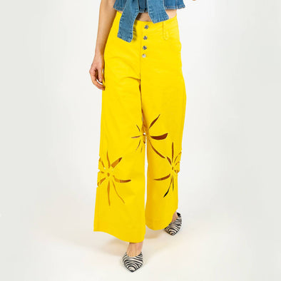 Motif wide leg trousers in yellow denim.