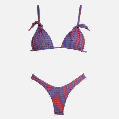 Purple and coral bikini featuring a strap to tie on the back and removable cups.