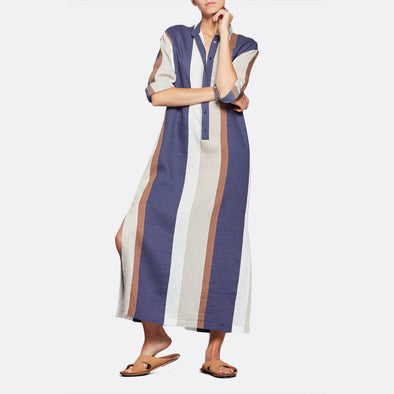 Long overshirt dress featuring long sleeves and vibrant muiticolor stripes.
