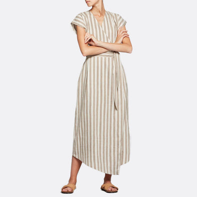 Asymmetric belted wrap dress featuring soft beige stripes.
