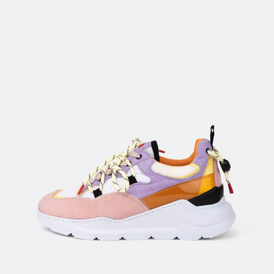 Runners in pink, orange, yellow suede.