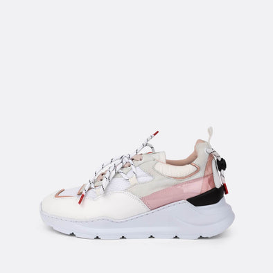 Runners in white and pink suede.
