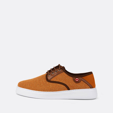 Textured derby sneakers in orange suede.