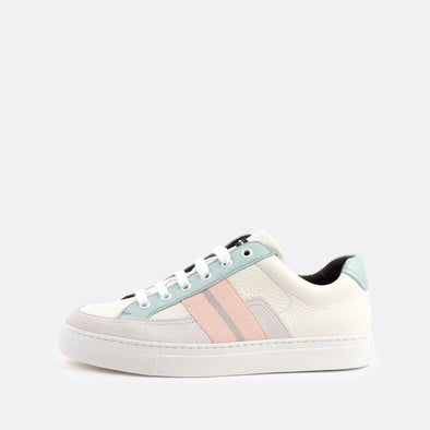 White low-top sneakers with pops of color in grey, mint and baby pink.