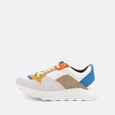 Multicolored chunky paneled runners in leather and suede.