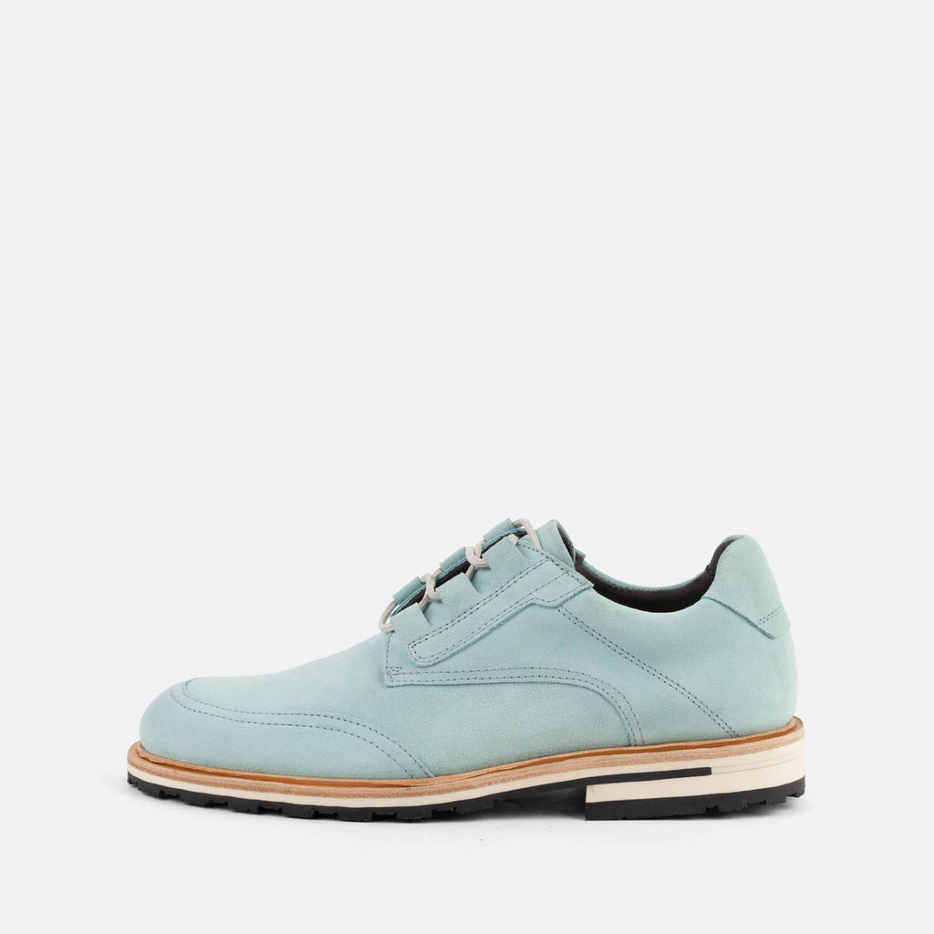 Mint suede casual derby shoes.