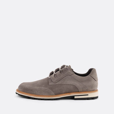 Grey suede casual derby shoes.