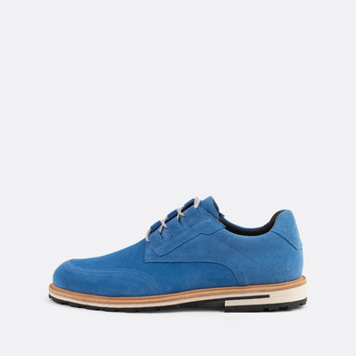 Blue suede casual derby shoes.
