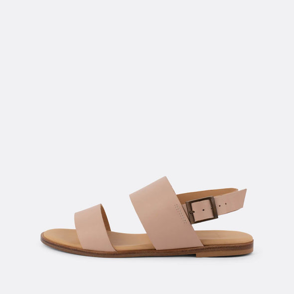 Double-strap sandals in beige leather.