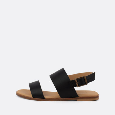 Double-strap sandals in black leather.