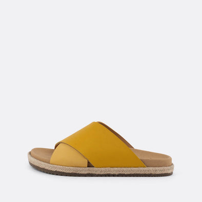 Cross-strap slides in yellow leather with raffia sole.