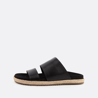 Black double-strap leather sandals.