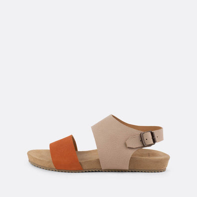 Multicolored orange and nude double-strap leather sandals.