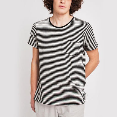 Black and ecru striped round neck t-shirt with small pocket on the front.