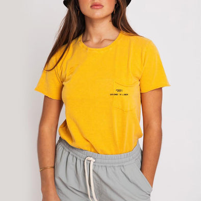 Yellow round neck t-shirt with small pocket on the front and +351 logo print.