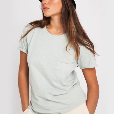 Ice blue round neck t-shirt with small pocket on the front and +351 logo print.