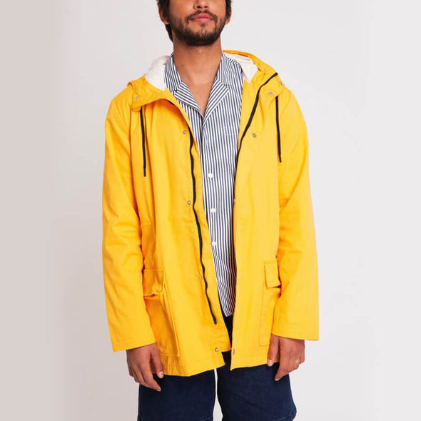 Yellow over the knee belted parka with two side pockets and adjustable hoodie.