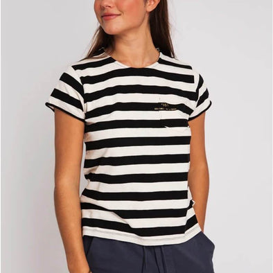 Black and white striped round neck t-shirt with small pocket on the front and +351 logo print.