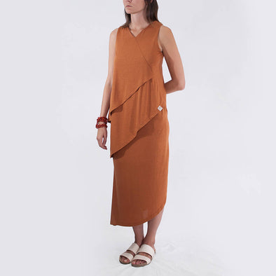 Camel sleeveless dress with drape detailing at the front.