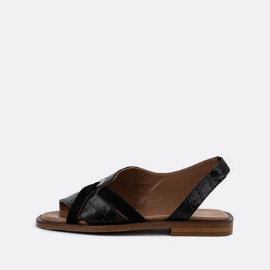Black cross leather sandals with open toe and texture.