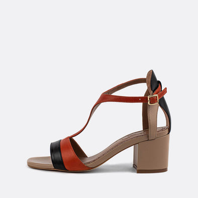 Multicolor leather heeled sandals with thin ankle buckle.