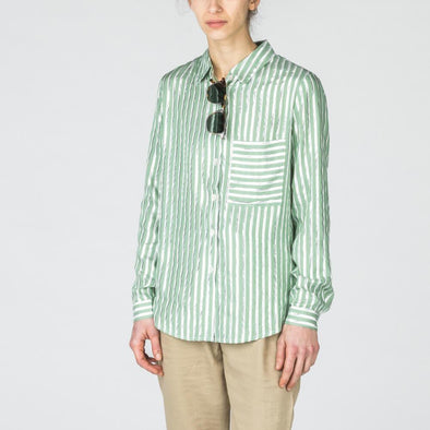 Pistachio shirt with silver stripes featuring a large pocket at the front.