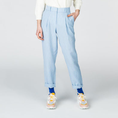 High-waisted blue and white striped pants with Italian pockets.