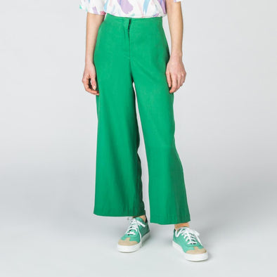 Green wide leg pants with side pockets.