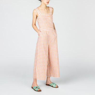 Vichy jumpsuit with square neck and cutout back.