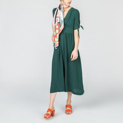Forest green midi dress with V-neck and button fastening through the front.