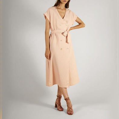 Light pink midi dress with thin white stripes and a belt to tie at the waist.