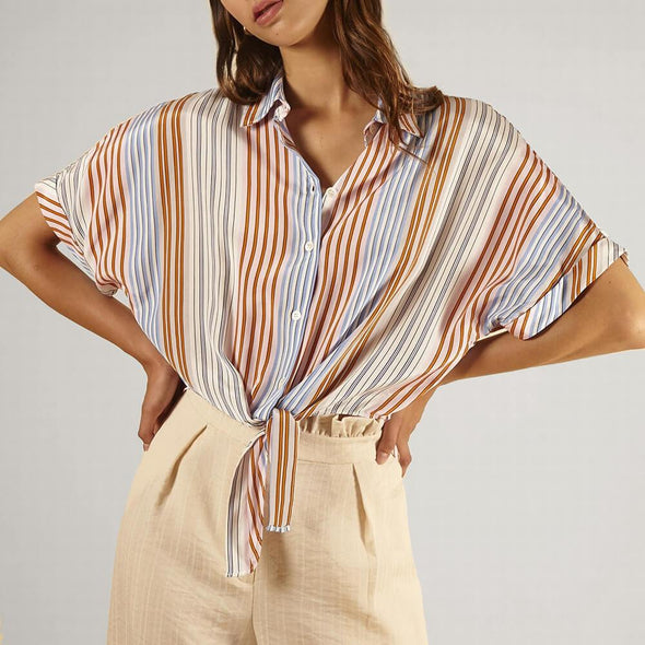 Multicolored striped shirt with short wide sleeves and a bow at the front.