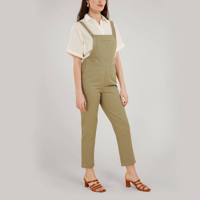Green regular fit dungarees with side pockets.
