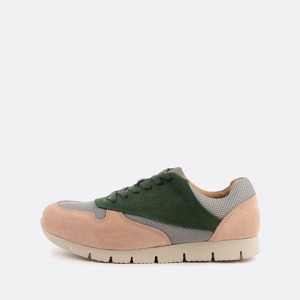 Classic-style runners in paneled nude and forest green suede.