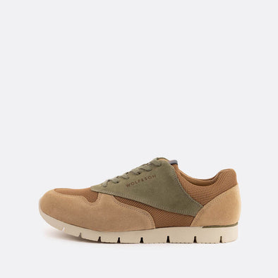 Classic-style runners in paneled beige and light green suede and brown mesh.