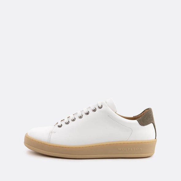 Casual white leather low-top sneakers with grey panels and nude sole.