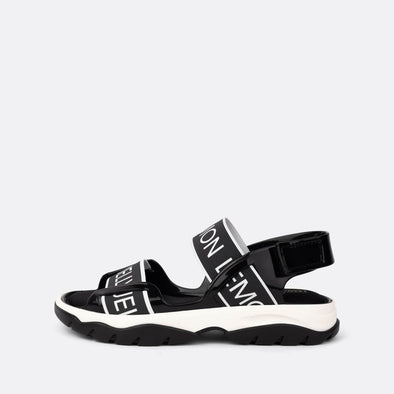 Black sandals with white logo details