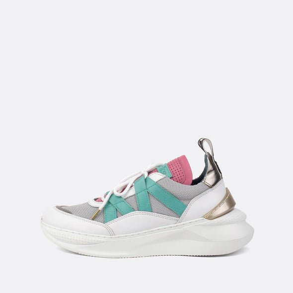 White leather sneakers with mesh details in pink, grey and green.