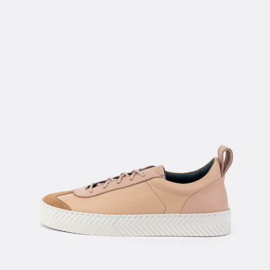 Retro low-top sneakers in salmon leather with spine sole.