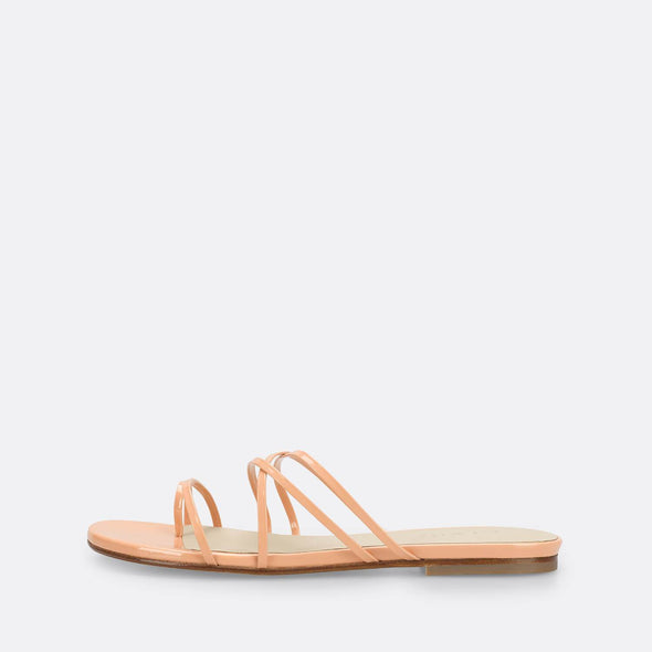 Coral strappy slides in leather with patent finish.