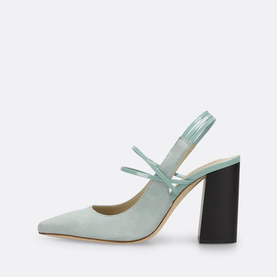Mint classic pumps with varnish strappy details.