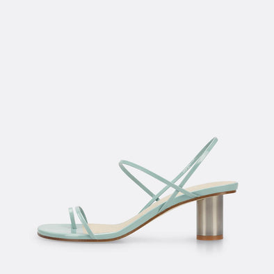 Mint slingback sandals with iconic silver heel.