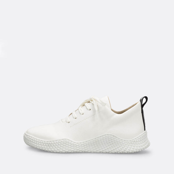 White leather sneakers with matching chunky sole.